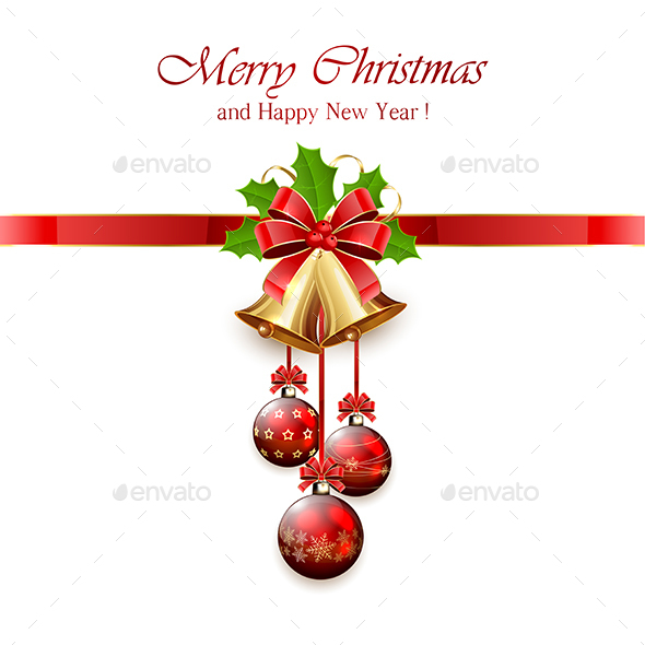 Christmas Bell and Holly Berries - Christmas Seasons/Holidays