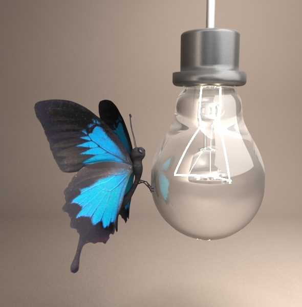 Butterfly and light - 3DOcean Item for Sale