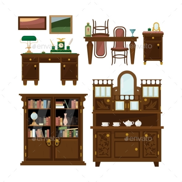 Classic Furniture Set In Flat Style Vector - Objects Vectors