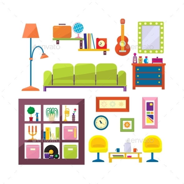 Modern Furniture Set In Flat Style Vector - Decorative Symbols Decorative