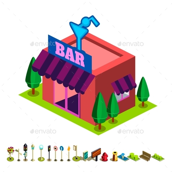 Vector Isometric Bar Building Icon - Buildings Objects