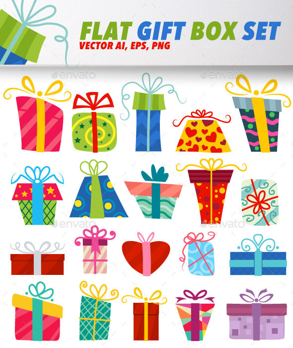 Flat Vector Gift Box Set - Seasons/Holidays Conceptual