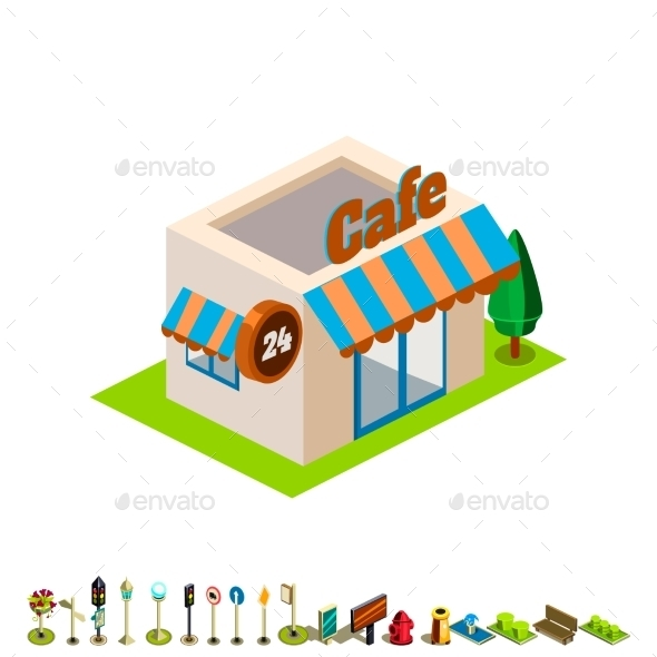 Vector Isometric Bar Building Icon Infographic - Buildings Objects