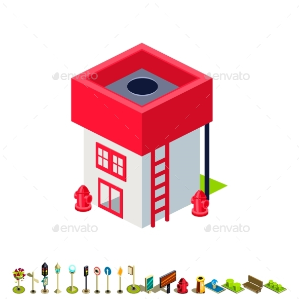 Vector Isometric Fire Station Building Icon - Buildings Objects