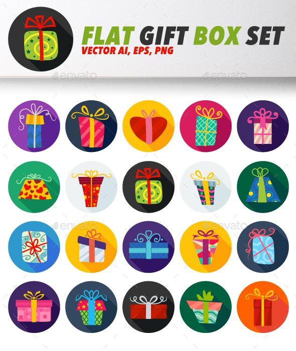 Flat Vector Gift Box Icon Set - Seasonal Icons