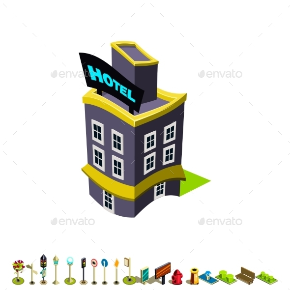 Vector Isometric Hotel Building Icon - Buildings Objects