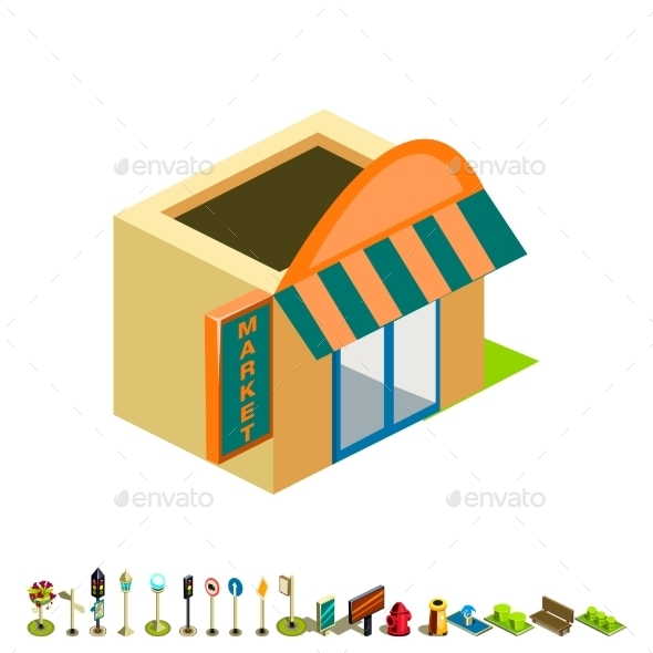 Vector Isometric Market Building Icon - Buildings Objects