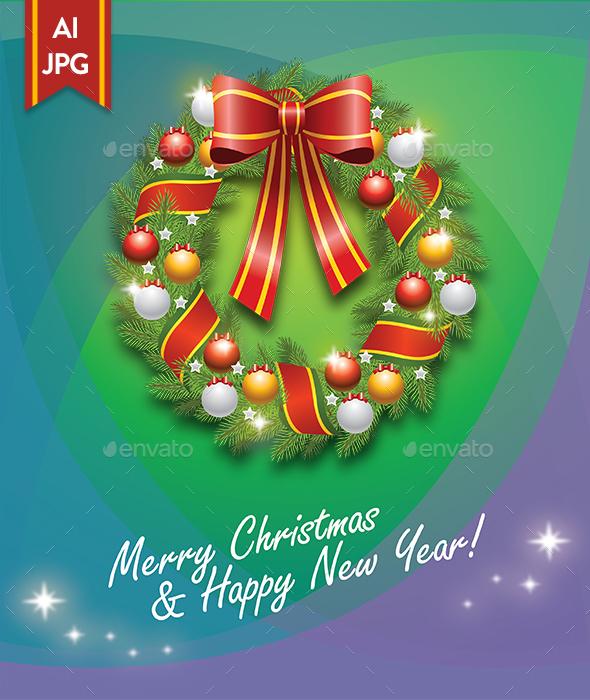 Christmas Wreath Greeting Card - Christmas Seasons/Holidays