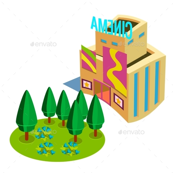 Flat 3d Isometric Cinema Icons  - Buildings Objects