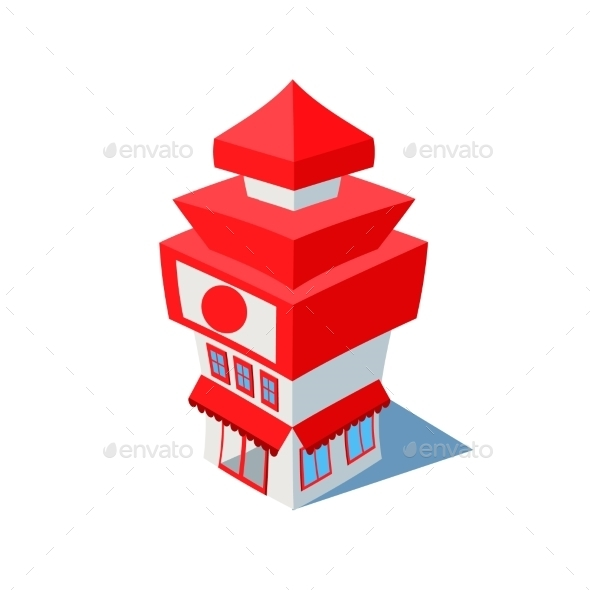 Vector Isometric Sushi Restaurant Cafe Building  - Buildings Objects