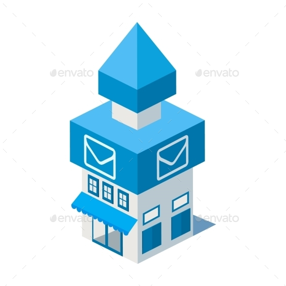 Vector Isometric Post Office Building Icon - Buildings Objects