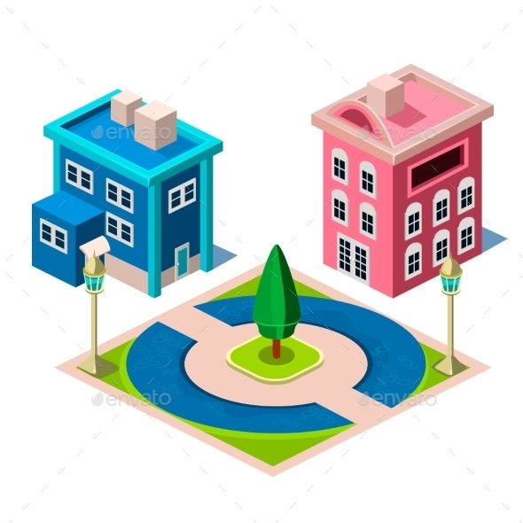 House And Park Building Icon - Buildings Objects