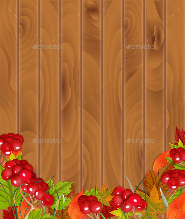 Autumn Background Wth Viburnum And Leaves - Backgrounds Decorative