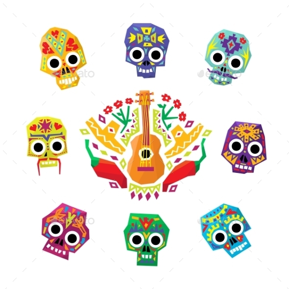 Mexico Flowers, Skull Elements. Vector - Miscellaneous Vectors