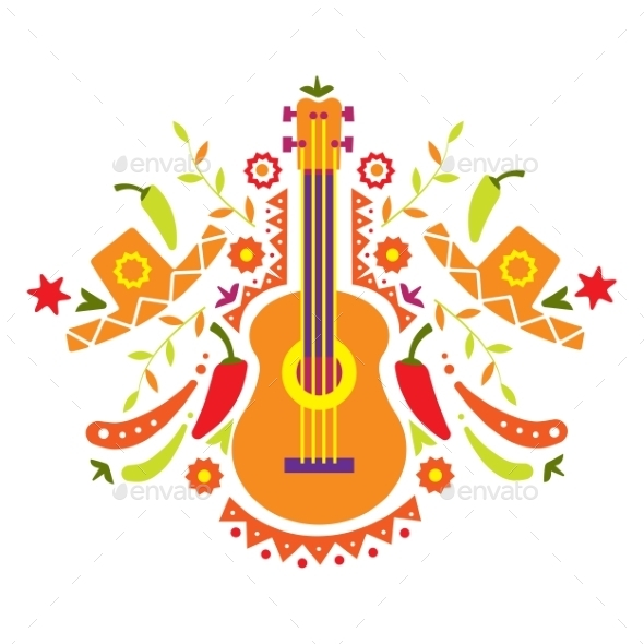 Mexia, Guitar And Various Elements  - Miscellaneous Vectors