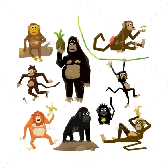 Different Monkeys In Different Poses, 2016 Symbol  - Animals Characters
