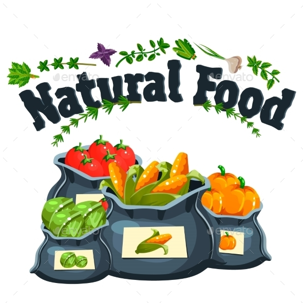 Natural Food, Farm Products Banner, Bags - Food Objects