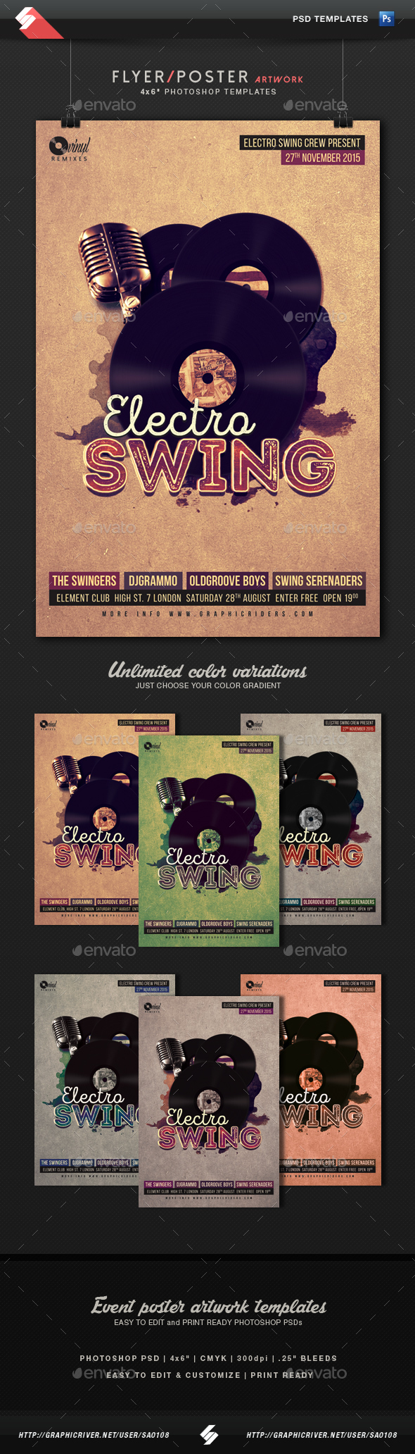 Electro Swing Party Flyer Template - Clubs & Parties Events