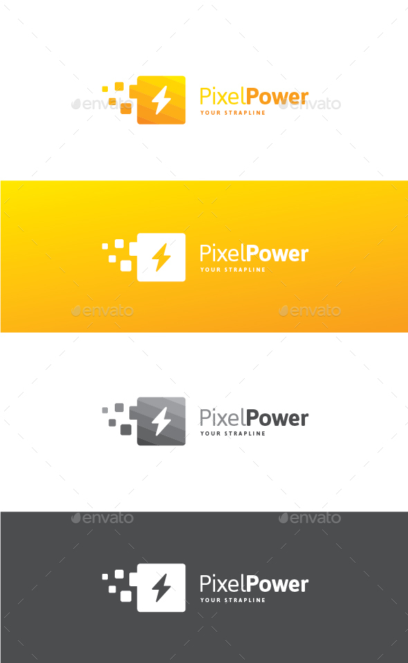 Pixel Power Logo - Symbols Logo Templates