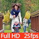 Child with Mother Riding a Scooter on the Bridge - VideoHive Item for Sale
