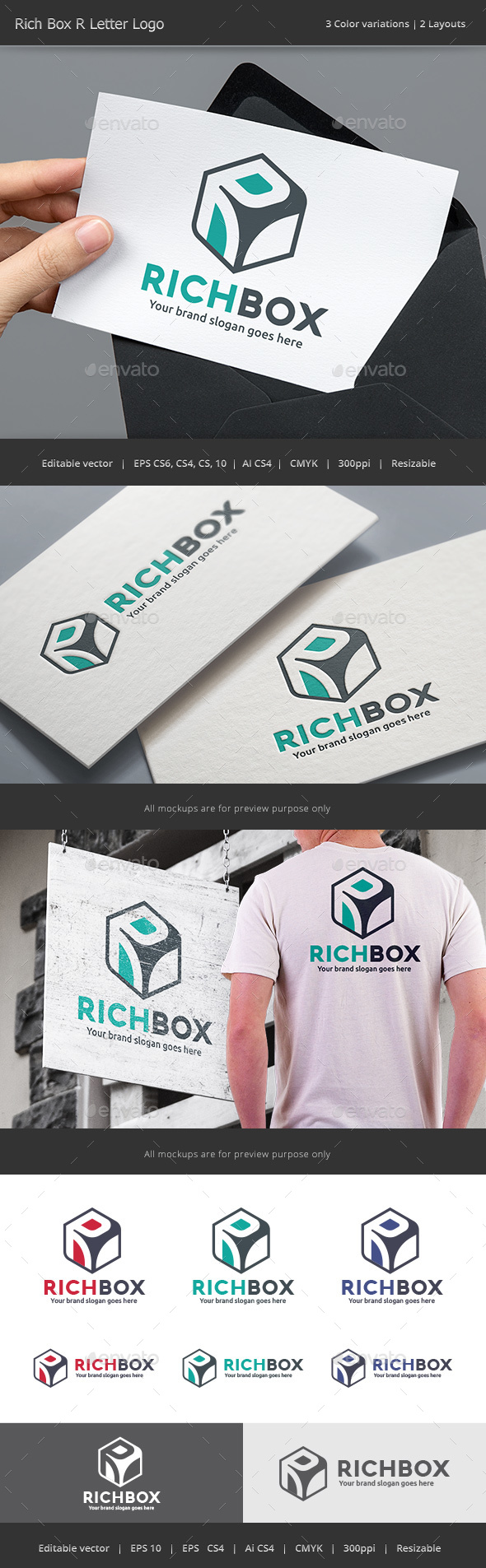 Rich Box Letter R Logo - Vector Abstract