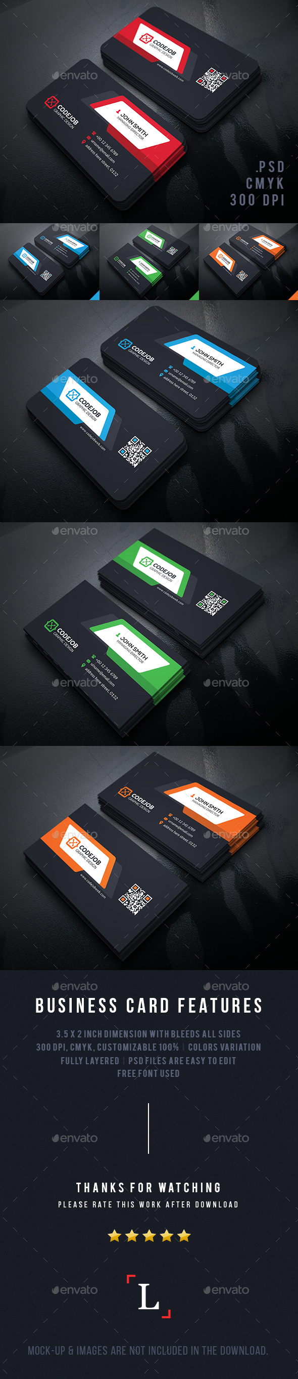 Shape Corporate Business Cards - Business Cards Print Templates