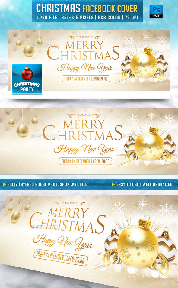Merry Christmas Facebook Cover by Briell | GraphicRiver