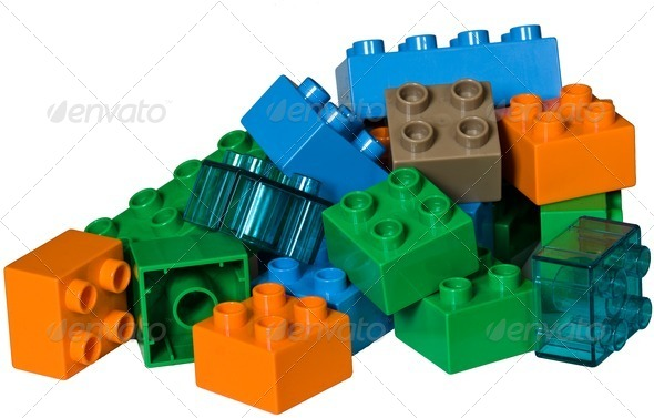 A pile of plastic toy bricks - Stock Photo - Images