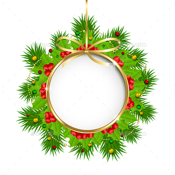 Christmas Decoration with Circle Banner - Christmas Seasons/Holidays