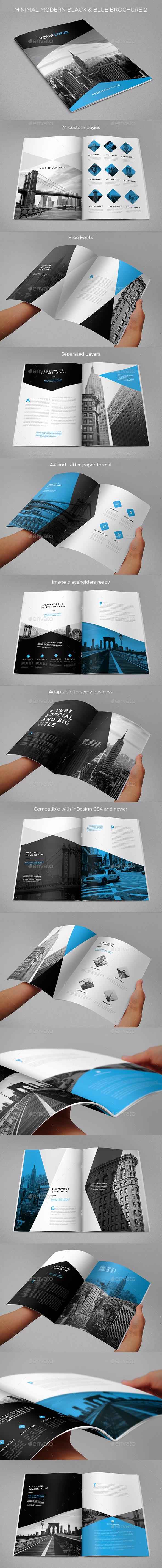 Minimal Modern Black & Blue Brochure 2 - Brochures Print Templates