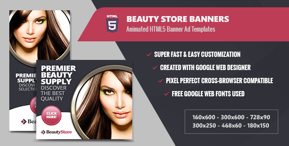 Beauty Store Banners - HTML5 Animated - CodeCanyon Item for Sale