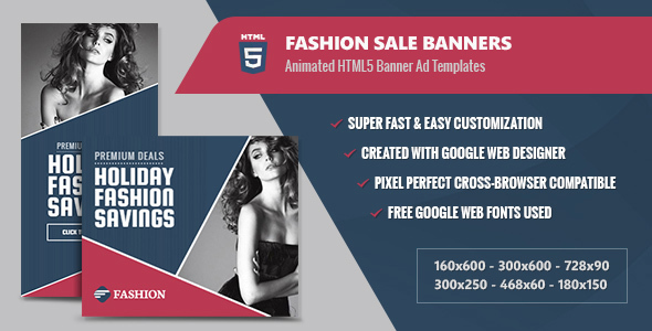 Fashion Sale Banners - HTML5 Animated GWD - CodeCanyon Item for Sale