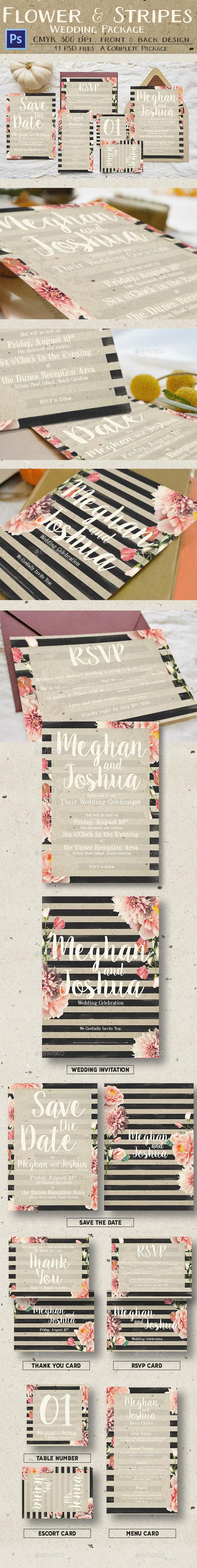 Rustic Flower & Stripes Wedding Package - Weddings Cards & Invites