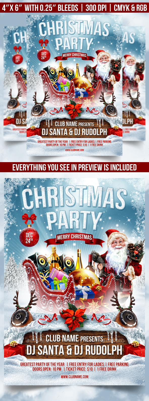 Merry Christmas Flyer Template - Clubs & Parties Events