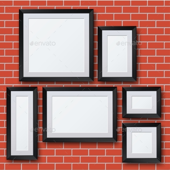 Vector Blank Picture Frame Set On Brick Wall. - Borders Decorative
