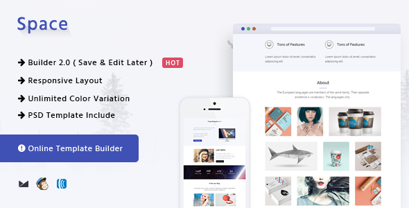 Space – Responsive Email Template + Online Builder