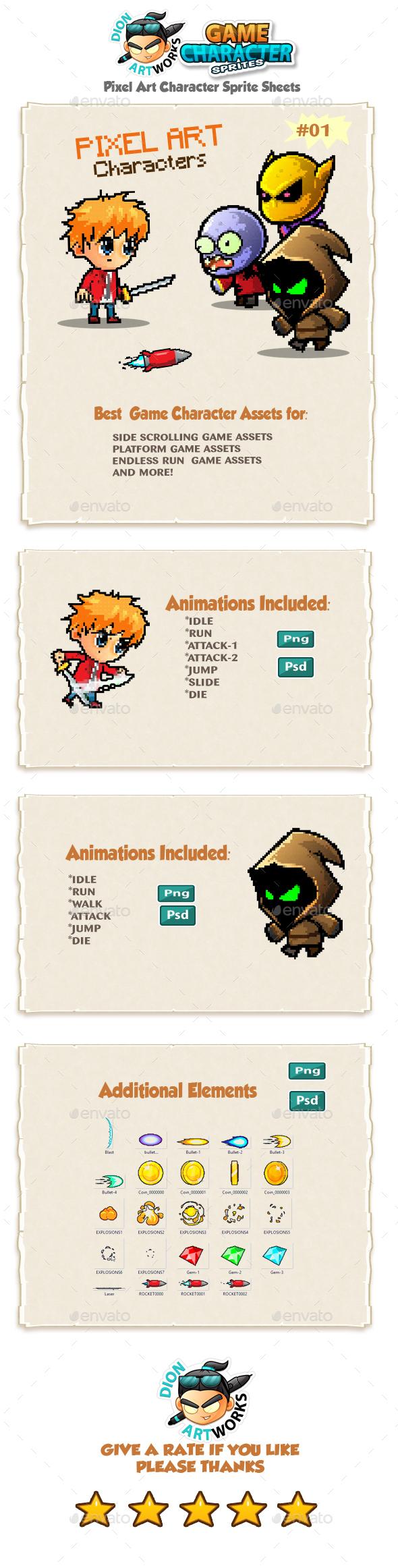 Pixel Art Game Character Sprites 01 - Sprites Game Assets