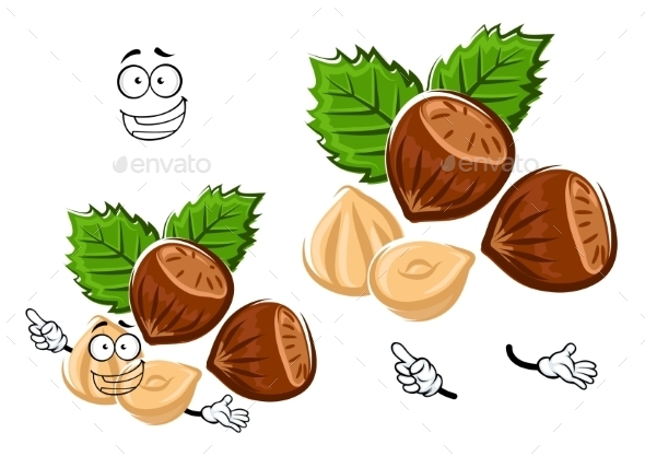 Cartoon Isolated Hazelnut With Brown Nuts - Food Objects