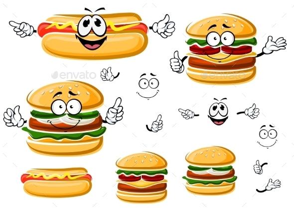 Happy Hamburger, Hot Dog And Cheeseburger  - Food Objects