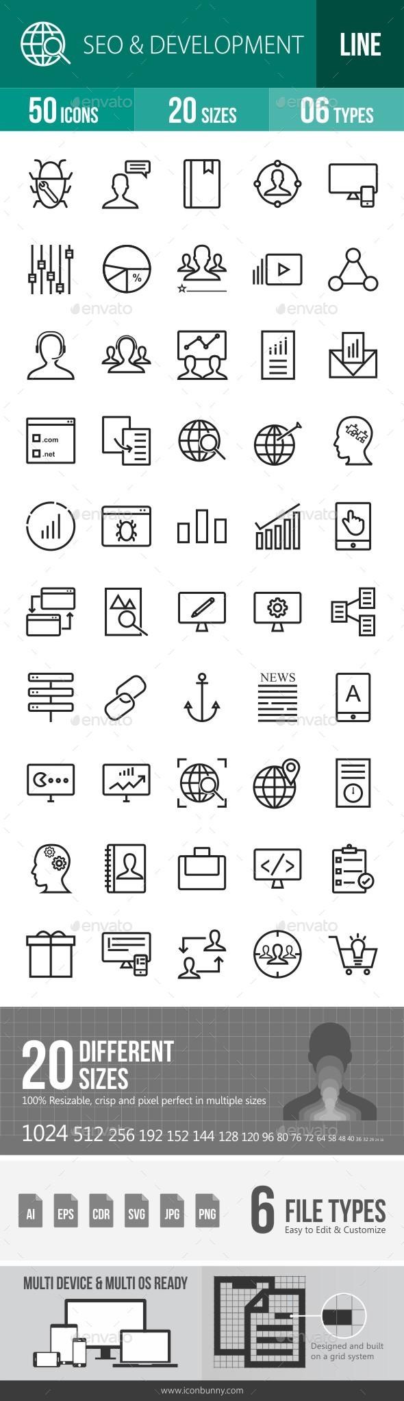 SEO & Development Services Line Icons - Icons