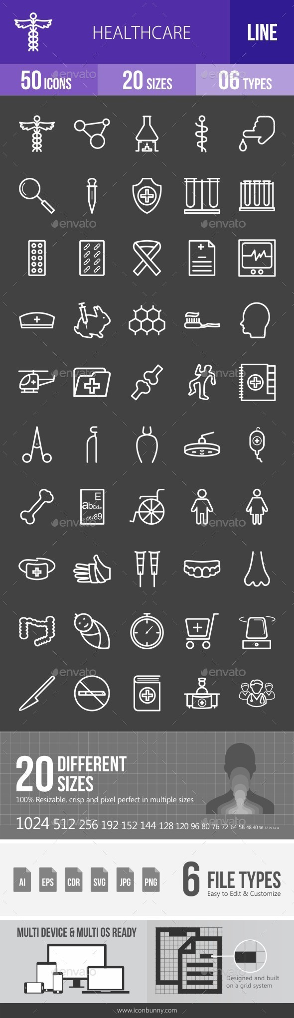 Healthcare Line Inverted Icons - Icons