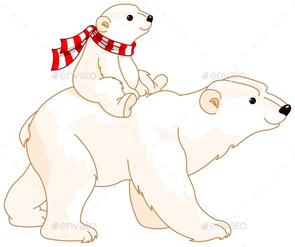 Polar Bear Mom and Baby  - Animals Characters
