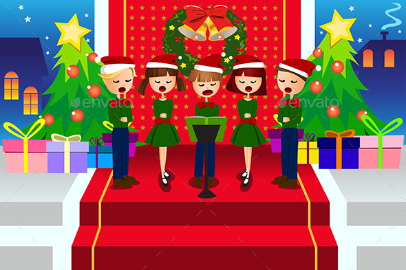 Kids singing Christmas Carols - Christmas Seasons/Holidays