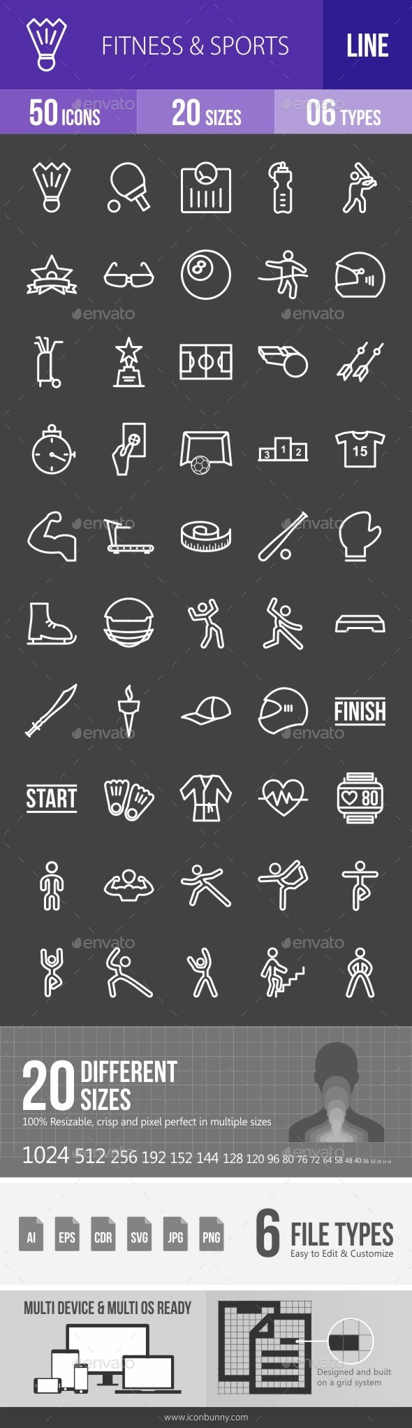 Fitness & Sports Line Inverted Icons - Icons