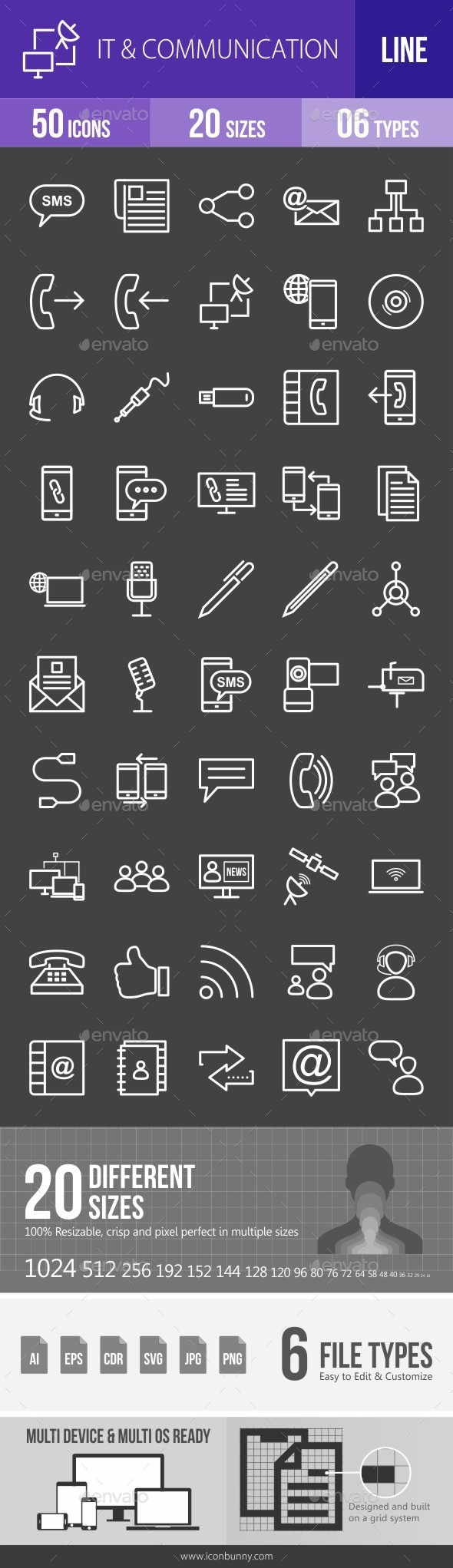 IT & Communication Line Inverted Icons - Icons