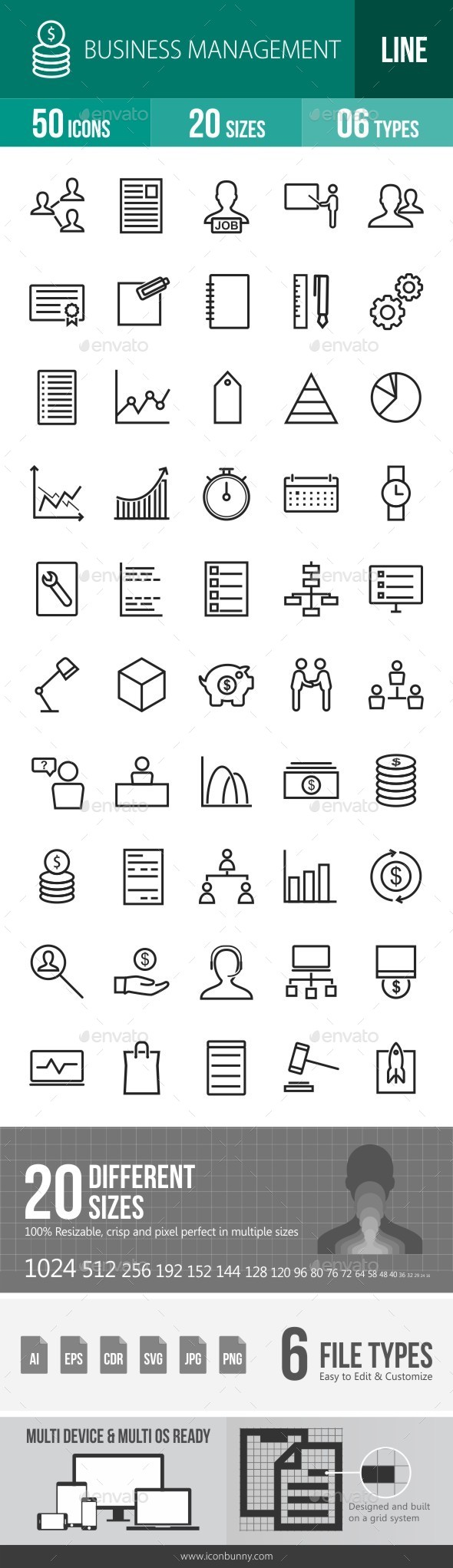 Business Management Line Icons - Icons