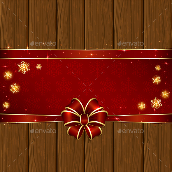 Wooden Christmas Background with Red Bow - Christmas Seasons/Holidays