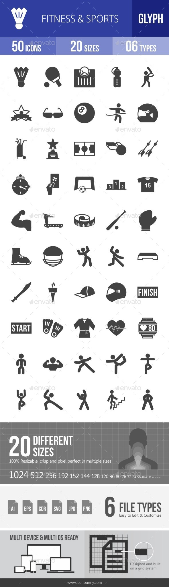 Fitness & Sports Glyph Icons - Icons