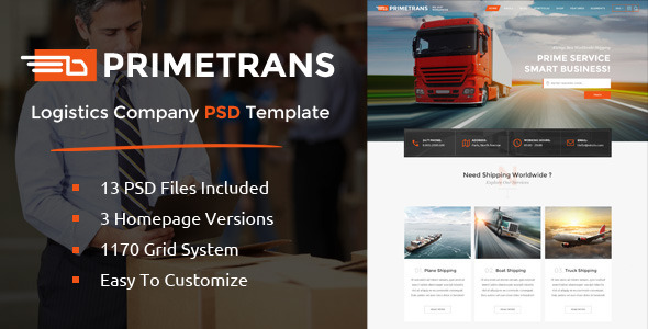 PrimeTrans | Logistics PSD Template