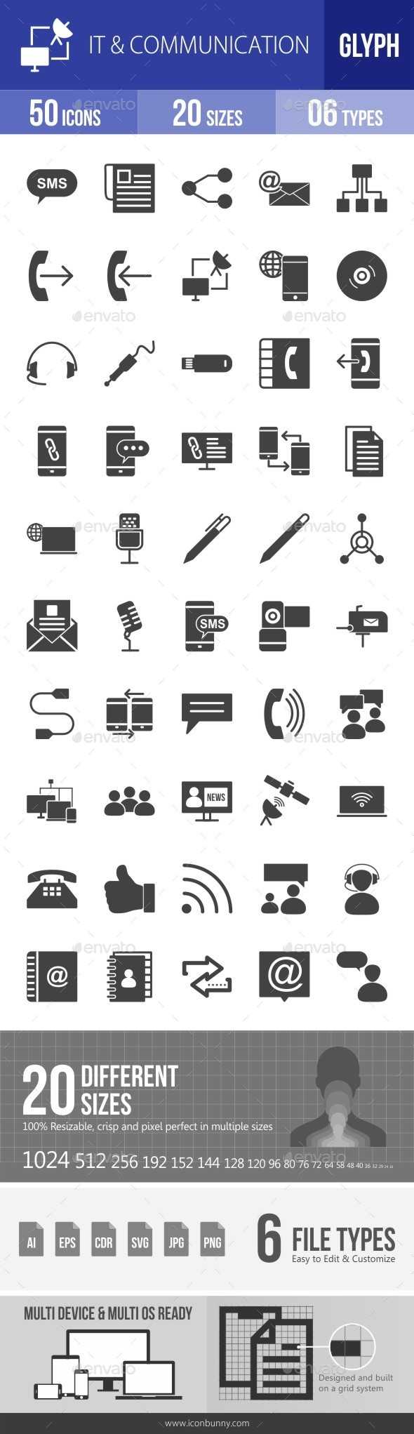 IT & Communication Glyph Icons - Icons